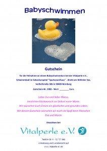 Vitalperle + Wasserperle - Gutschein Babyschwimmen